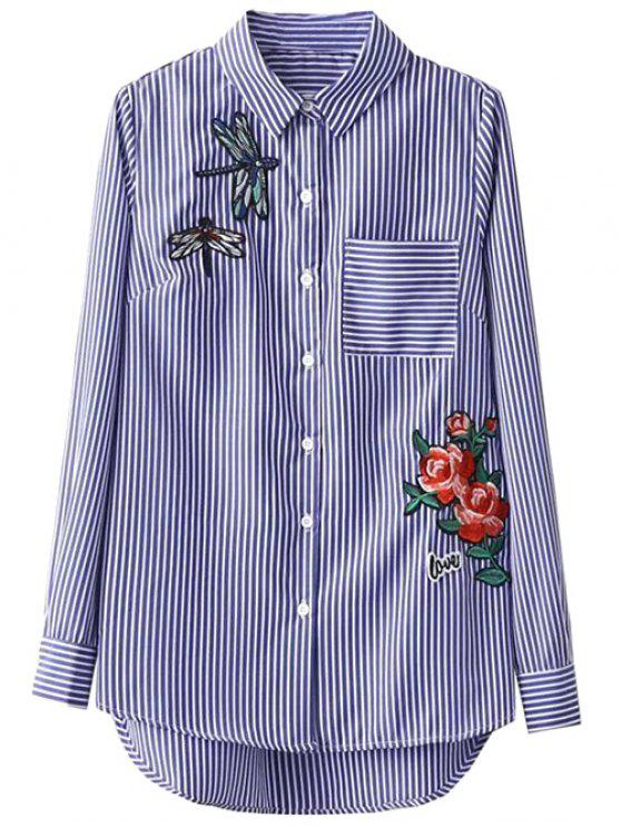 fashion High Low Striped Dragonfly Embroidered Shirt - BLUE AND WHITE S