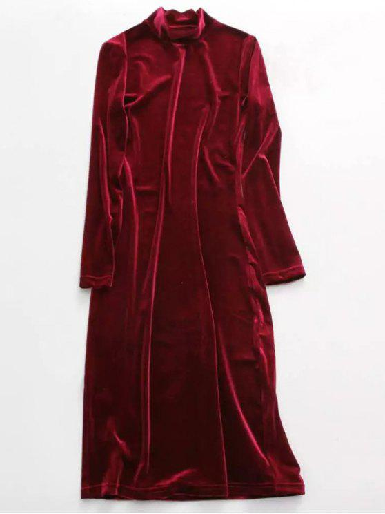 Velvet Stand Neck Long Sleeve Dress - WINE RED ONE SIZE