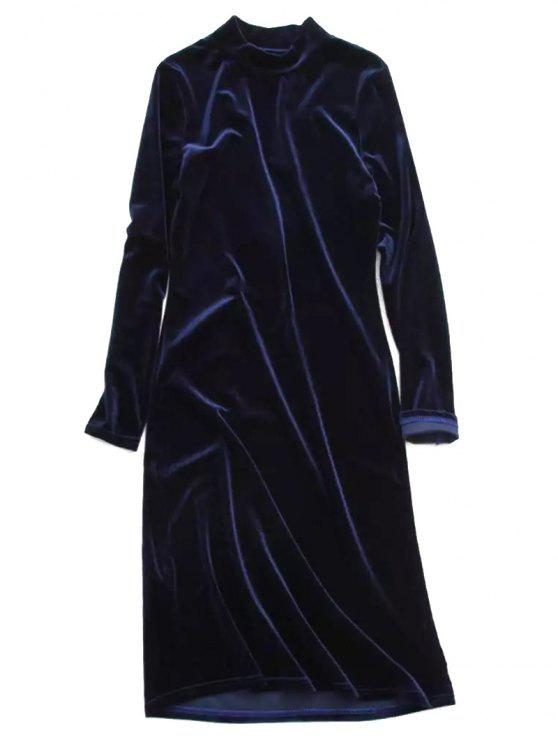 fancy Velvet Stand Neck Long Sleeve Dress - PURPLISH BLUE ONE SIZE