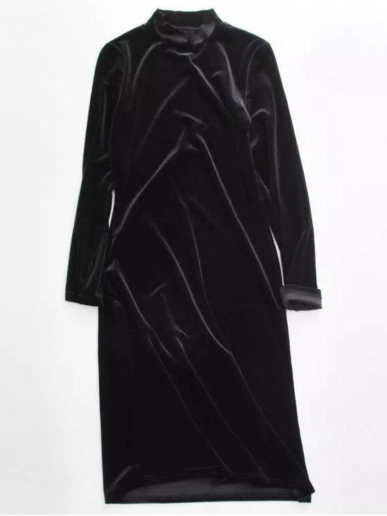 unique Velvet Stand Neck Long Sleeve Dress - BLACK ONE SIZE
