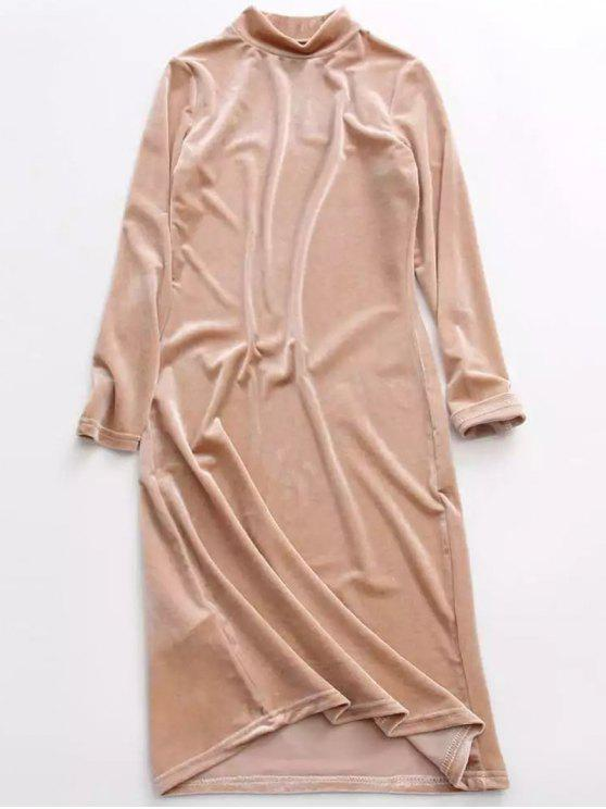 sale Velvet Stand Neck Long Sleeve Dress - YELLOWISH PINK ONE SIZE