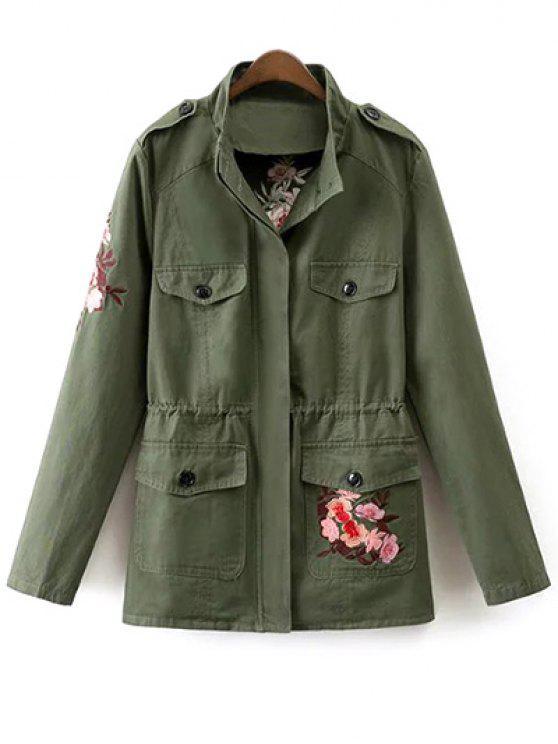 Blouson brodé tigre motif militaire col montant - Vert Armée M