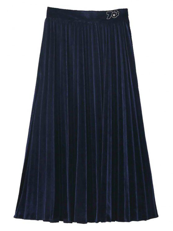 affordable Velvet Pleated Midi Skirt - PURPLISH BLUE L