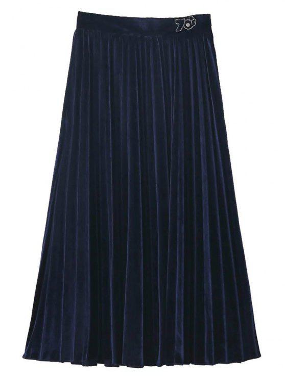 تنورة مخلية مطوية ميدي - الأرجواني الأزرق L