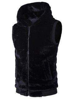 Rib-Hem Zip Up Hooded Plush Fleece Vest - Black M