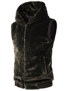 Rib-Hem Zip Up Hooded Plush Fleece Vest - Green 2xl