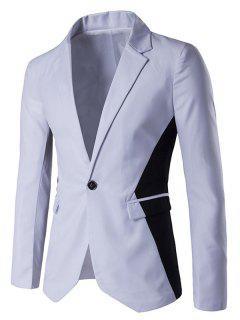 Contrast Color Notch Lapel One-Button Blazer - White Xl