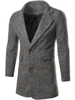 Single Breasted Flap Pocket Tweed Coat - Light Gray L