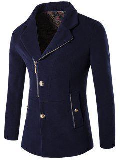 Zip + Button Fly Lapel Collar Wool Blend Coat - Purplish Blue M