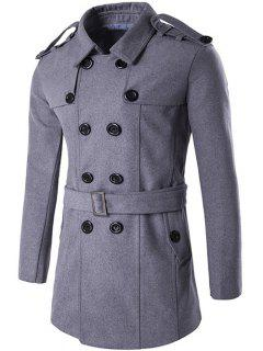 Double Breasted Epaulet Design Trench Coat - Gray L