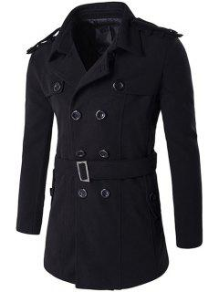 Double Breasted Epaulet Design Trench Coat - Black M