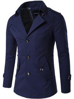 Single Breasted Epaulet Design Wind Coat - Purplish Blue Xl