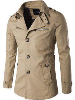 Einreiher Reißverschluss-Tasche Epaulet Mantel - Khaki Xl