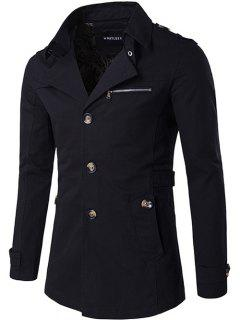 Single Breasted Zipper Pocket Epaulet Coat - Black Xl