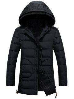 Hooded Drawstring Back Slit Zip-Up Padded Coat - Black 2xl