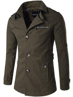 Single Breasted Zipper Pocket Epaulet Coat - Army Green L