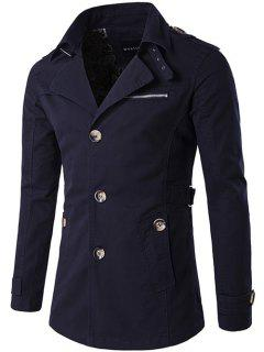Single Breasted Zipper Pocket Epaulet Coat - Purplish Blue 2xl