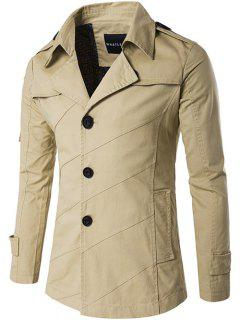 Single Breasted Line Pattern Epaulet Trench Coat - Khaki 2xl