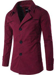 Single Breasted Line Pattern Epaulet Trench Coat - Claret M