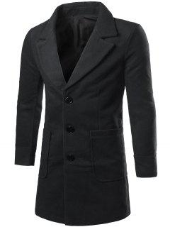 Lapel Collar Big Pocket Wool Blend Coat - Black 2xl