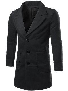 Lapel Collar Big Pocket Wool Blend Coat - Black Xl