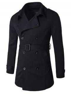Double-Breasted Tab Cuff Epaulet Design Belted Trench Coat - Black L