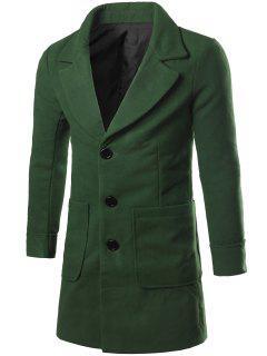 Lapel Collar Big Pocket Wool Blend Coat - Blackish Green 2xl