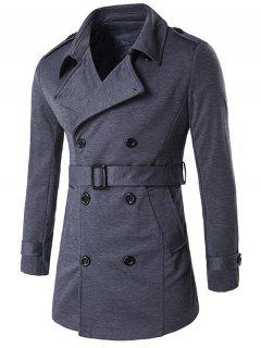 Double-Breasted Tab Cuff Epaulet Design Belted Trench Coat - Gray L