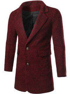 Single Breasted Flap Pocket Tweed Coat - Wine Red L