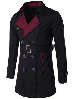 Notched Collar Color Block Double-Breasted Trench Coat - Black M