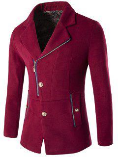 Zip + Button Fly Lapel Collar Wool Blend Coat - Wine Red 2xl