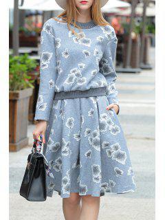 Sweatshirt Mit A-Linie Rock Und Blumenmuster - Grau S