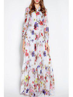 Flower Print Ruffle Maxi Dress - White S