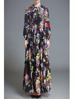 Flower Print Ruffle Maxi Dress - Black S