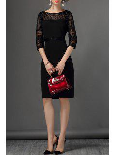 Lurex Insert Sheath Dress - Black S