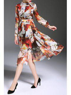 Beaded Mock Neck Floral Print Slit Dress - Floral M