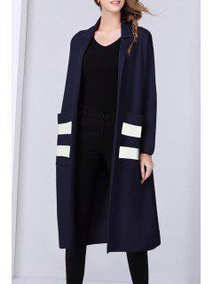 Woolen Ouvert Avant Revers Long Cardigan - Bleu Foncé