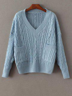 Pockets Cable Knit Sweater - Blue
