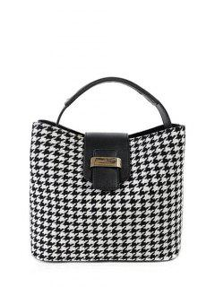Houndstooth Metal Colour Block Tote Bag - Black