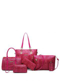 Embossed PU Leather Metals Shoulder Bag - Rose Madder