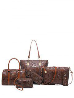 Embossed PU Leather Metals Shoulder Bag - Coffee