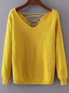 Double-V Lace-Up Sweater - Yellow
