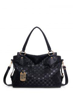 Plaid Pattern Metal Embossing Tote Bag - Black