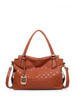Plaid Pattern Metal Embossing Tote Bag - Brown