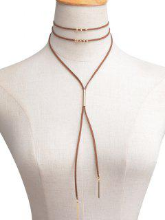 Faux Leather Velvet Bar Beaded Layered Choker - Brown
