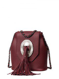 Tassels Chain Snap Closure Crossbody Bag - Wine Red