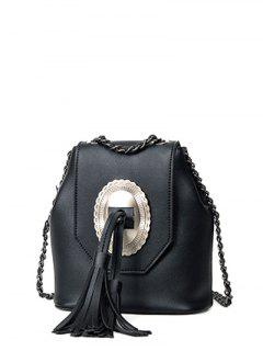 Tassels Chain Snap Closure Crossbody Bag - Black