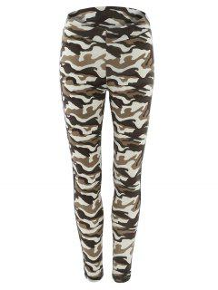 Topstitched Camo Printed Leggings - Camouflage S