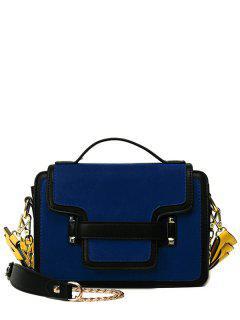 PU Leather Spliced Suede Rivet Handbag - Blue