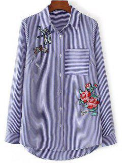 Dragonfly Floral Patched Striped Shirt - Blue And White L